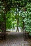 Weg durch eine Hecke in einem Park Eingang zum Park in einer Kleinstadt stockfotografie