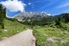 Weg durch Sommerberglandschaft Ansicht von Wilder Kaiser, Österreich, Tirol Lizenzfreies Stockfoto