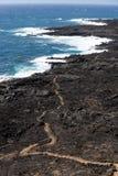 Weg durch vulkanischen Bereich nahe Küstenlinie von Teneriffa-Insel, Kanarienvogel, Spanien Stockfoto