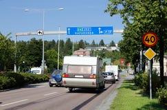 Weg E4 in Ornskoldsvik Royalty-vrije Stock Afbeeldingen