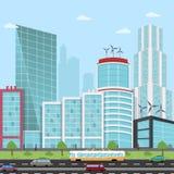 Weg in een Moderne Wolkenkrabber van de Stadsmening, bedrijfsmensen, hommel, bedrijfsmens met een hoverboard, vliegende auto's royalty-vrije illustratie