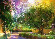 Weg in een vreedzaam groen park, het schilderen vector illustratie