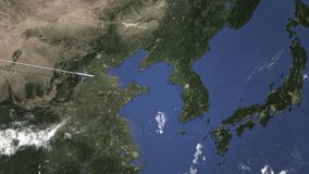 Weg einer Handelsfläche nach Seoul, Südkorea von der Westanimation der Intro 3D lizenzfreie abbildung