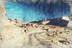 Weg en berg India Leh Ladakh Digitaal Art Impasto Oil Pain royalty-vrije stock foto's