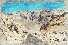 Weg en berg India Leh Ladakh Digitaal Art Impasto Oil Pain stock afbeelding