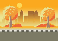 Weg en cityscape bij zonsondergang vector illustratie