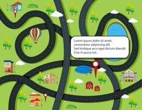 Weg en kaart infographic concept vector illustratie
