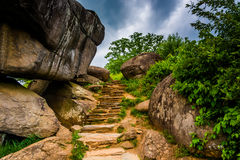 Weg en keien in het Hol van de Duivel, Gettysburg, Pennsylvania stock fotografie