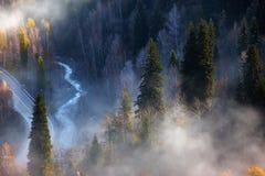 Weg en rivier in de herfstbergen Stock Foto