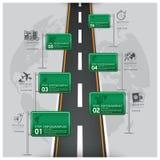Weg en Straatverkeersteken Bedrijfsreis Infographic Stock Afbeelding