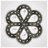 Weg en Straatverkeerstekenzaken Infographic met het Weven van C Royalty-vrije Stock Fotografie