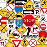 Weg en verkeersteken royalty-vrije illustratie