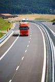 Weg en vrachtwagens Royalty-vrije Stock Foto