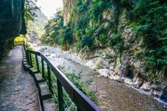 Weg entlang Fluss in der Schlucht Stockfotos