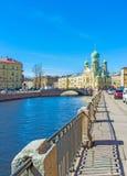 Weg entlang Griboedov-Kanal in St Petersburg Lizenzfreies Stockfoto