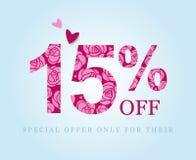 15 weg Fünfzehn Prozent-Rabatt Rosa Rosen, Promo vektor abbildung