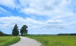 Weg, gebieden en mooie bewolkte hemel, Litouwen royalty-vrije stock afbeelding