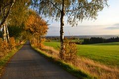 Weg, Gebieden, weiden en boslandschap in de herfstkleuren, Tsjechische republiek stock foto's