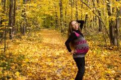 Weg goldener in der Herbstwaldwerdenden Mutter Stockfotografie