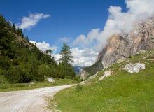 Weg in het midden van het Dolomiet Stock Afbeeldingen