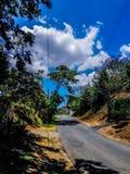 Weg in het midden van installaties en bomen tegen hemel stock foto