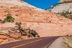 Weg in het Nationale Park van Ziont de V.S. De zomeravontuur in Utah royalty-vrije stock foto