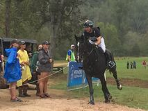 2018 world Equestrian games - eventing cross country day water complex New Zealand rider stock photography