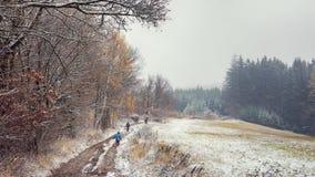 Weg im ersten Schnee in der Winterlandschaft Lizenzfreie Stockfotografie
