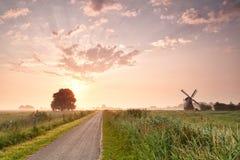 Weg im niederländischen Ackerland mit Windmühle Lizenzfreies Stockfoto