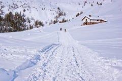 Weg im Schnee Stockbild