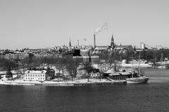 Weg im Winter nach dem Stockholm Stockbilder