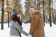 Weg im Winterpark Stockfotos