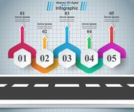 Weg infographic ontwerp malplaatje en marketing pictogrammen Royalty-vrije Stock Foto