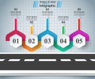 Weg infographic ontwerp malplaatje en marketing pictogrammen Royalty-vrije Stock Foto