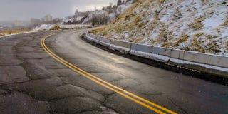 Weg met barsten in Salt Lake City in de winter royalty-vrije stock foto