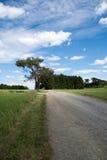 Weg met bewolkte blauwe hemel Royalty-vrije Stock Afbeeldingen