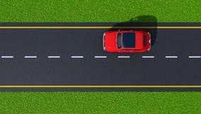 Weg met rode auto (hoogste mening) Royalty-vrije Stock Afbeelding