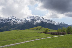 Weg mit Utah-Schnee bedeckte Berge mit dem Rollen von grünen Hügeln mit einer Kappe stockfotografie