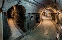 Weg mit zwei Möglichkeiten im Tunnel Stockbild