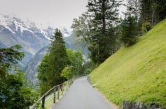 Weg in Murren, Zwitserland Royalty-vrije Stock Foto