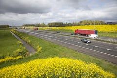 Weg A15 in Nederland in de lente royalty-vrije stock afbeelding