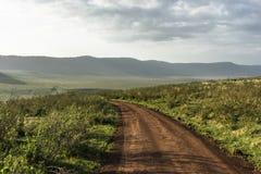 Weg in Ngorongoro-krater royalty-vrije stock afbeelding