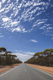 Weg in Nullarbor-Vlakte, Australië Stock Afbeelding