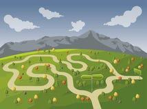 Weg op groen park met vertakte verkeersteken vector illustratie