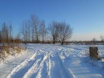 Weg op het gebied in de wintertijd stock afbeelding