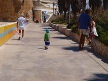 Weg op het strand in Algarve Stock Afbeeldingen