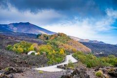 Weg op vaste vorm gegeven lavagebieden op Onderstel Etna in Sicilië stock foto's
