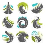 Weg of oprijlaan geplaatste wegvector geïsoleerde pictogrammen stock illustratie