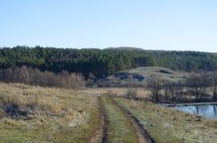 Weg in platteland stock foto