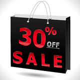 30% weg, Rabatt mit 30 Verkäufen, 30 weg vom Text mit Einkaufstasche Lizenzfreie Stockfotos